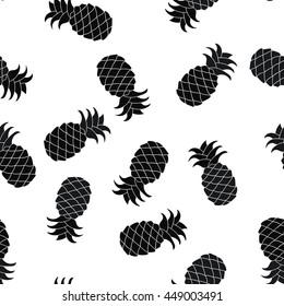 Seamless pineapple silhouette pattern Vector background. Black and white palette.