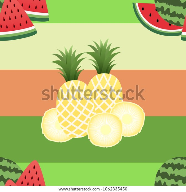 Seamless pineapple and watermelon  pattern in summer.