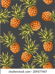 seamless pineapples vector pattern