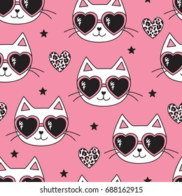 seamless pink cat with leopard print pattern vector illustration