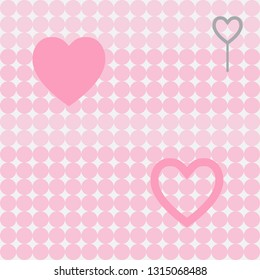 Seamless pink circle pattern background with heart.