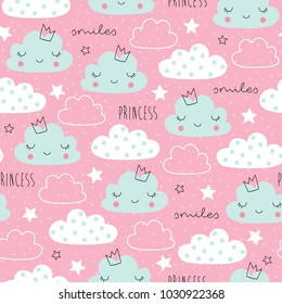 seamless pink clouds stars pattern vector illustration