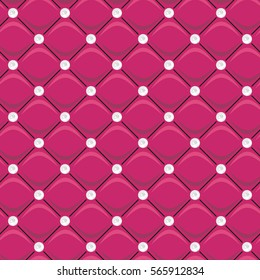 Seamless pink cute pattern in the form of soft upholstery with diamond buttons vector illustration for website, textile, cover, wrapping, packing, books, wallpaper. Luxury glam background with pearls