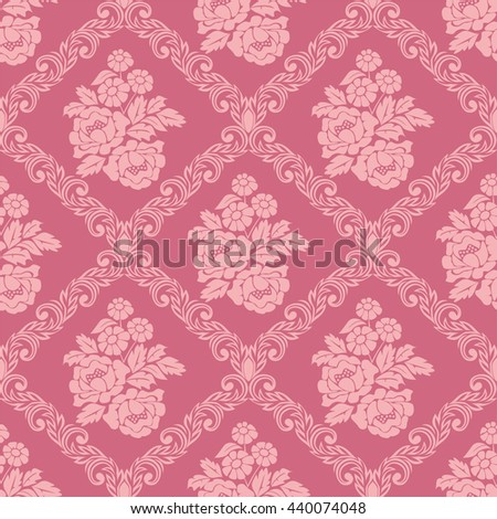 Seamless Pink Damask Wallpaper With Bouquet Flowers For Design