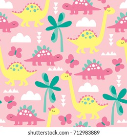 seamless pink dinosaur animal pattern vector illustration