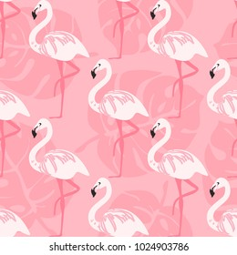 seamless with pink flamingo pattern vector illustration