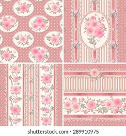 Seamless pink floral backgrounds and borders. Set of shabby chic style patterns with roses, laces and bows. Polka dot and stripes.