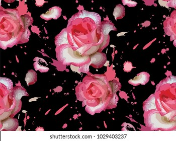 Seamless pink flowers pattern, pink roses with a black background.