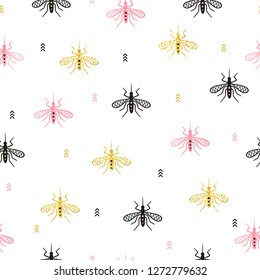Seamless pink and golden mosquito pattern. Vector background with gnat.