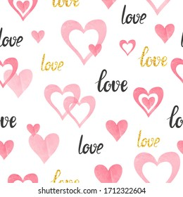 Seamless pink hearts pattern. Valentines Day love background.