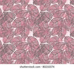 seamless pink leaf pattern