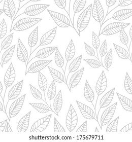 Seamless pink leaves pattern on white background