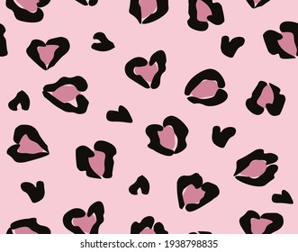 Seamless Pink Leopard Pattern, Heart Shaped Figures, Vector Design for Fashion and Background Prints