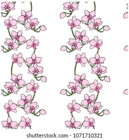 Seamless pink orchid flowers pattern. Hand drawn ink stock vector illustration, design element for web, for print