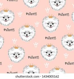 Seamless pink pattern with cute pomeranian dog.