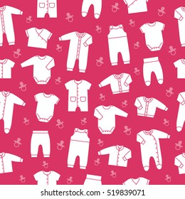 Seamless pink pattern with newborn baby clothes. Collection icons cute clothing for children. Vector background.