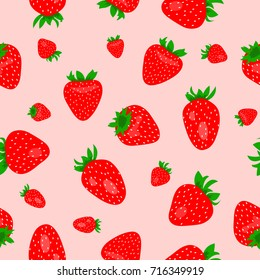 Seamless pink pattern with red strawberries as a background- Eps10 vector graphics and illustration