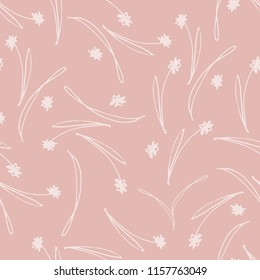 Seamless Pink Tossed Floral Pattern, Pink and White, Hand Drawn Pattern, Cute Floral Background