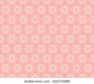 Seamless pink vintage ogee and floral textile pattern vector