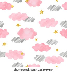 Seamless pink watercolor clouds and stars pattern. Vector background.