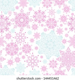 Seamless from pink-and-blue snowflakes.