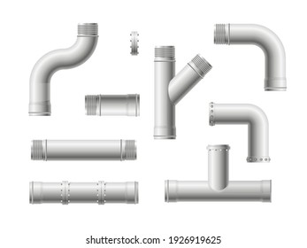 Seamless pipeline pattern. Realistic water and gas engineering plumbing system. Steel metal water, oil, gas pipeline, pipes sewage isolated on transparent background.