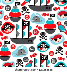 Seamless pirate island illustration colorful kids retro background pattern in vector