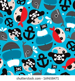 Seamless pirate ship and anchor whale illustration kids background pattern in vector