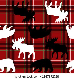 Seamless plaid with black and white moose and bears