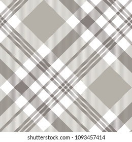Seamless plaid check pattern in grey, taupe and white. Classic countryside fashion texture.
