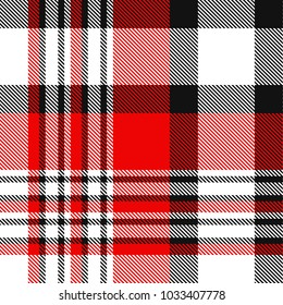 Seamless plaid check pattern in red, white and black.