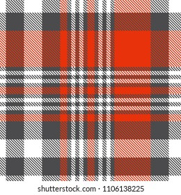 Seamless plaid check pattern in red, white and gray. Classic countryside fashion print.