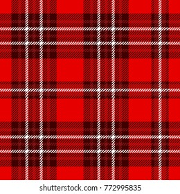 Seamless plaid patten in burgundy, red and white. Checkered fabric texture print.