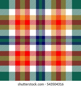 Seamless plaid pattern. Checkered fabric texture in bright madras palette of green, orange, red, dark blue and white.