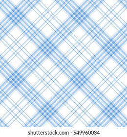 Seamless plaid pattern print. Checkered fabric texture in stripes of light azure blue on white background