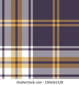 Seamless plaid pattern vector background. Scottish tartan check plaid texture in purple, yellow gold, and white for flannel shirt, blanket, or other modern textile print.