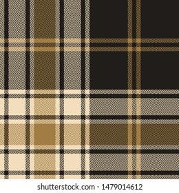 Seamless plaid pattern vector graphic. Gold and grey dark tartan check plaid for flannel shirt, poncho, scarf, blanket, throw, or other modern fabric design. Herringbone woven pixel texture.