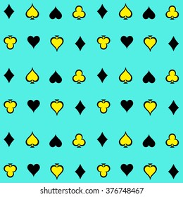 Seamless Playing Cards Suits Pattern Background Vector EPS10, Great for any use.