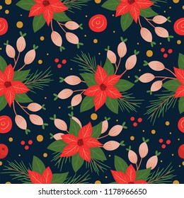 Seamless Poinsettia Pattern in Vector. Repeated Christmas pattern with flowers.