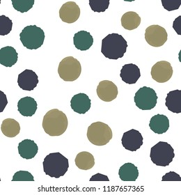 Seamless points polka of color dark yellow, grayish blue, desaturated cyan. For your design. Vector.