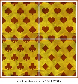 Seamless poker background with card suits: clubs, hearts, diamonds, spades.