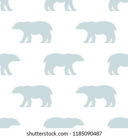 Seamless polar bear pattern. Scandinavian style repetitive wallpaper. Vector background.