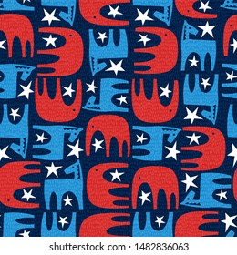 Seamless political pattern of donkey and elephant. United States 2020 election vector illustration