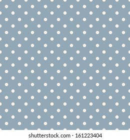 Seamless polka dot blue pattern with circles. Vector