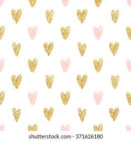 Seamless polka dot gold hearts pattern