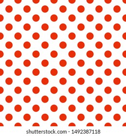 Seamless polka dot pattern vector. Red on white. Polka dots texture.