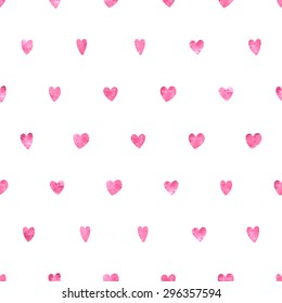 Seamless polka dot pink hearts pattern. Hearts of small mosaic faceted triangles.