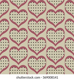 Seamless polka dot red and gray hearts pattern.