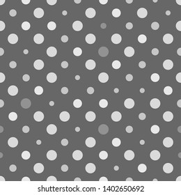 Seamless polka dot texture. Grey design. Retro polka dots vector.