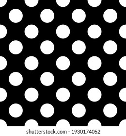 Seamless polka dot vector pattern. Repeat circles background with black and white elements. Trendy fashion print design. Modern illustration.